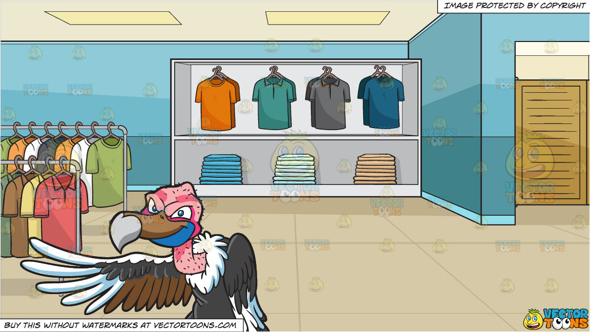 A Vulture Pointing At Something And Inside A Shirt Shop For Men