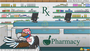 A Vulture Pointing At Something and Prescription Counter Inside A Pharmacy Background