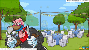 A Vulture Ready To Eat and An Outdoor Wedding Reception Background