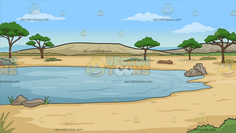 A Watering Hole In The Desert Background