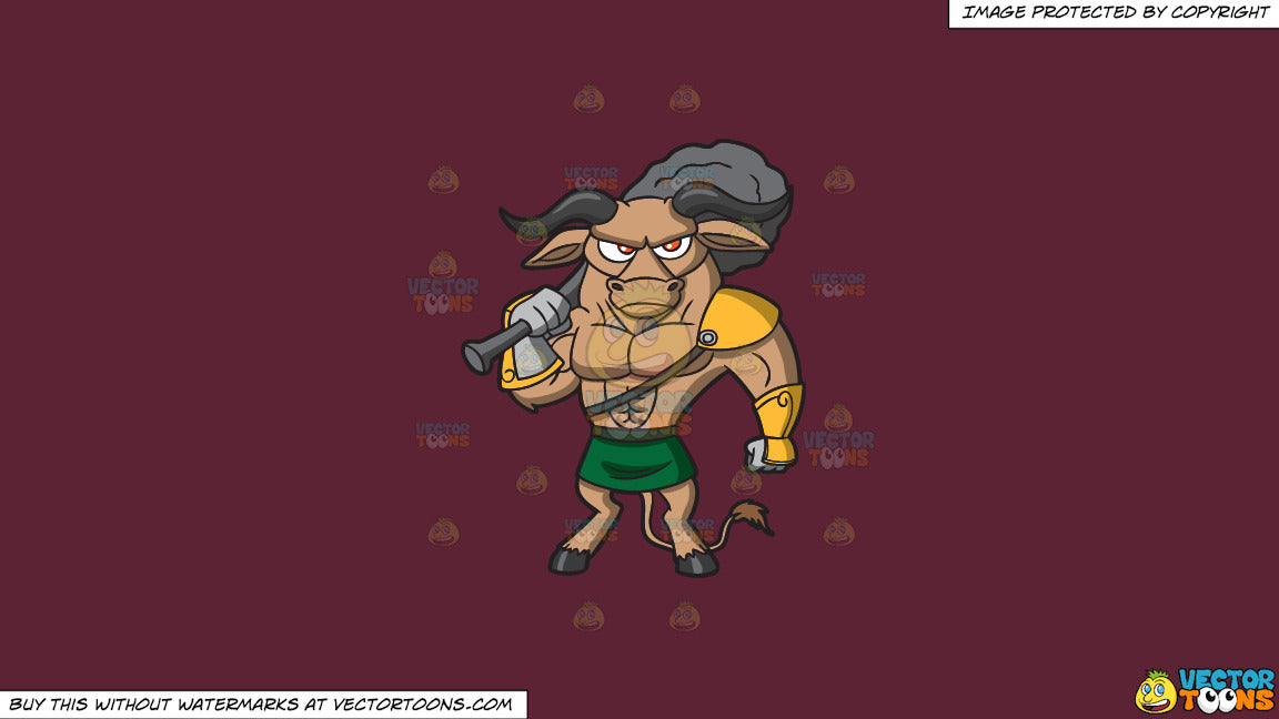 Cartoon clipart: a well built minotaur warrior on a solid red wine 5b2333 background