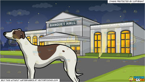 A Whippet Dog With Nice Posture and Banquet Hall Facade Background
