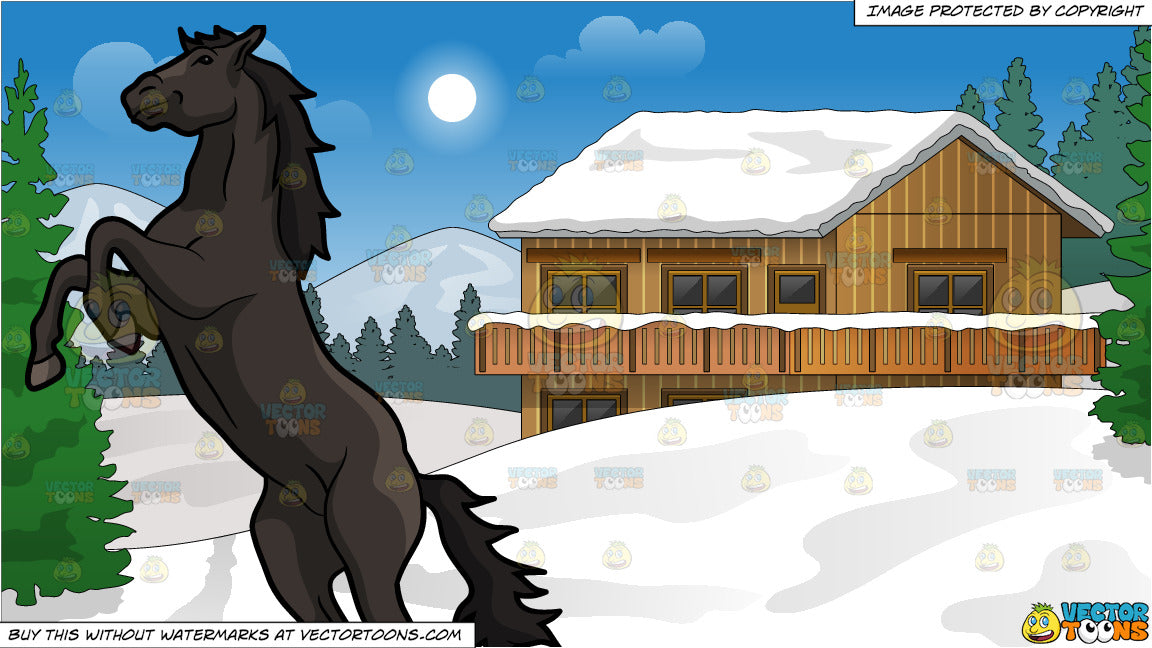 A Wild Dark Horse And Snow Covered Ski Chalet Background Clipart Cartoons By Vectortoons