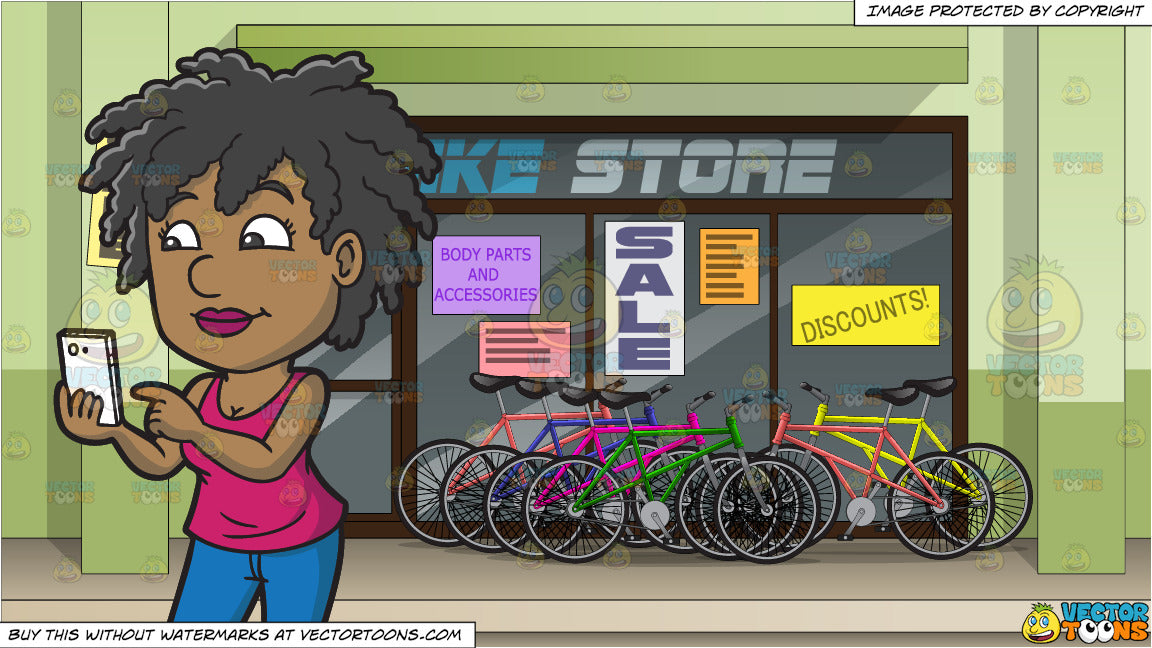 A Woman About To Video Call Her Online Date and Exterior Of A Bike Shop  Background
