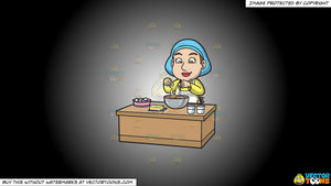 Cartoon clipart: a woman adding eggs into the cake mix on a white and black gradient background