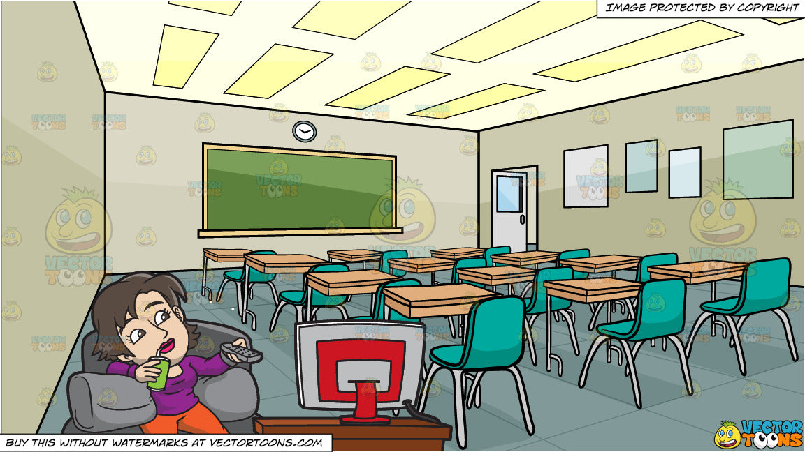A Woman Changing The Channel On Tv and Inside A High School Classroom  Background