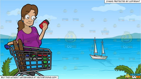 A Woman Checking Some Ingredients On A Food Item Before Buying and Sailboats Anchored Off The Shore Background