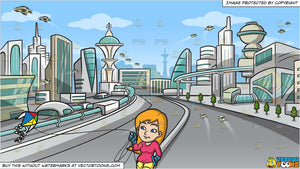A Woman Controlling Her Kite In The Air and Futuristic City Background