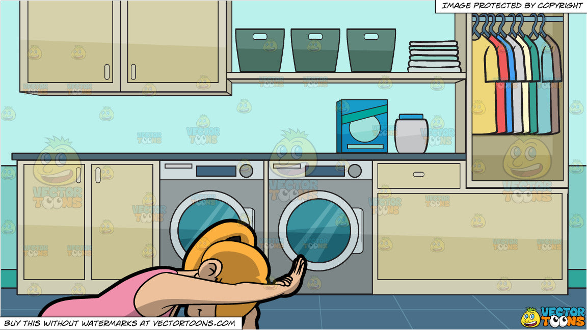 A Woman Doing The Angle Forward Bend Yoga Pose and A Laundry Room Background