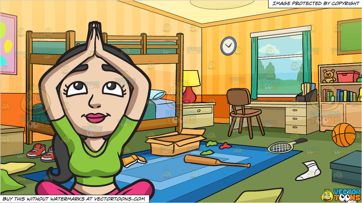 A Woman Doing Yoga Meditation and Messy Kids Bedroom Background