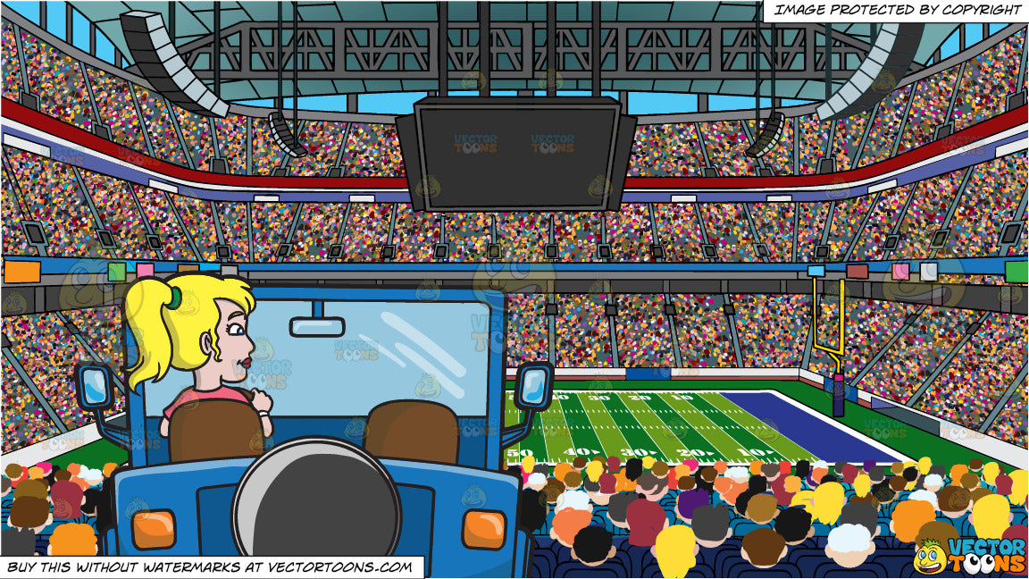 a woman driving a blue jeep and a football stadium background clipart cartoons by vectortoons vector toons