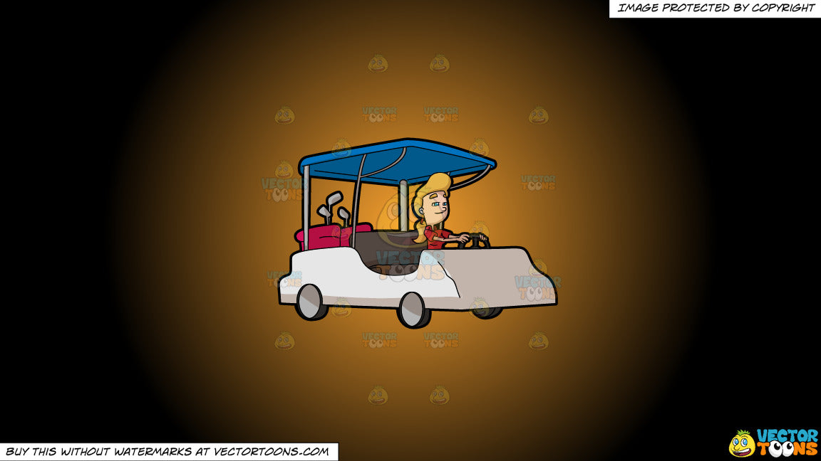 Clipart A Woman Driving A Golf Cart To Go To The Fairways On A Orange Clipart Cartoons By Vectortoons