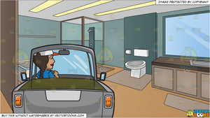 A Woman Driving A Gray Pick Up Truck And A Modern Master Bathroom Background