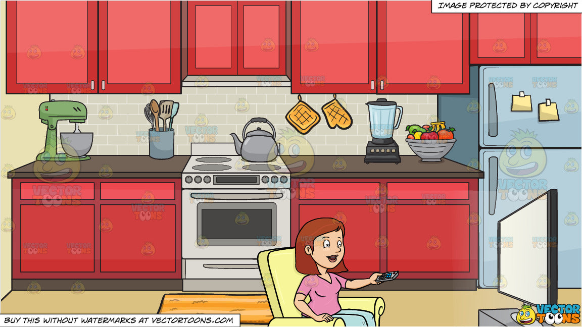 A Woman Entertaining Herself By Watching A Show On Her New Flat Screen Clipart Cartoons By Vectortoons