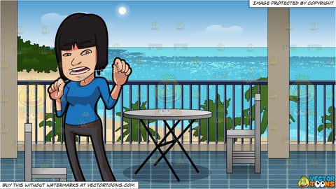 A Woman Flossing Her Nice Set Of Teeth and A Hotel Balcony Overlooking The Beach Background