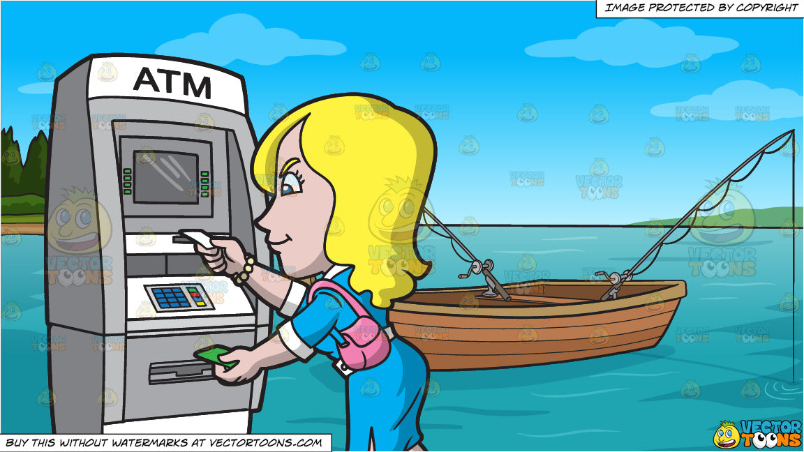 A Woman Getting Her Atm Receipt And Cash and Fishing Boat On The Lake  Background