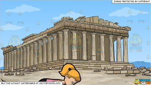 A Woman Going Into The Horse Face Yoga Pose and The Parthenon Background