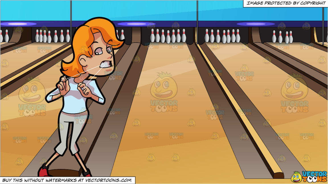 A Woman Having A Hard Time Flossing Her Teeth and Bowling Lanes Background