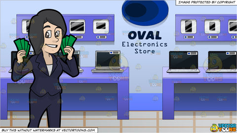 A Woman Holding A Bunch Of Cash In Her Hands and A Variety Of Tech Gadgets On Display At An Electronics Store