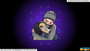 Cartoon clipart: a woman hugging her dog during a cold day on a purple and black gradient background