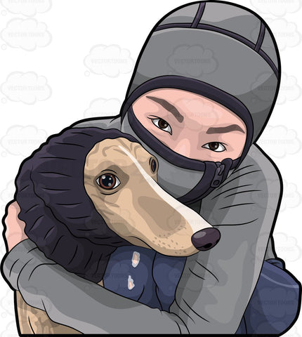 A Woman Hugging Her Dog During A Cold Day
