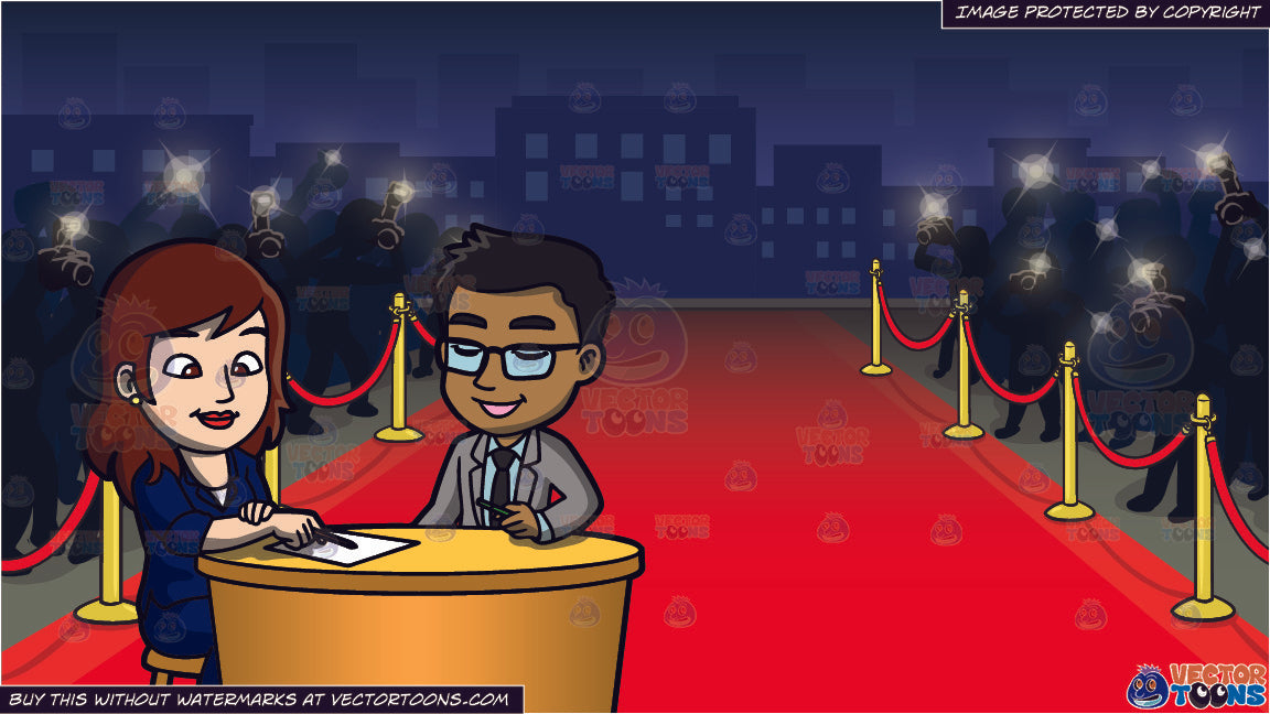 A Woman Interviewing A Man And Red Carpet Premiere Background Clipart Cartoons By Vectortoons