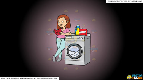 Cartoon clipart: a woman kills time by reading a book while waiting for her laundry to finish on a pink and black gradient background