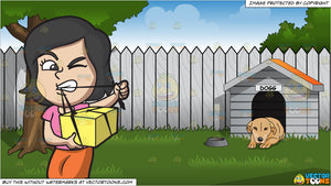 A Woman Opening A Gift Box With Her Teeth and Backyard With Doghouse Background