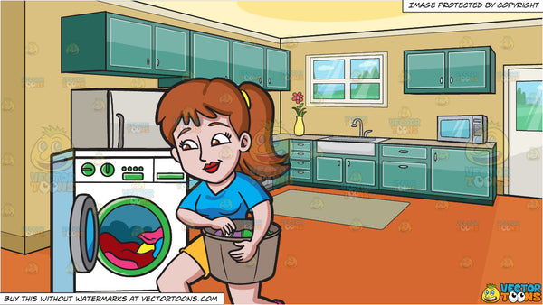 A Woman Placing Clothes In The Washing Machine and A Small Apartment  Kitchen Background