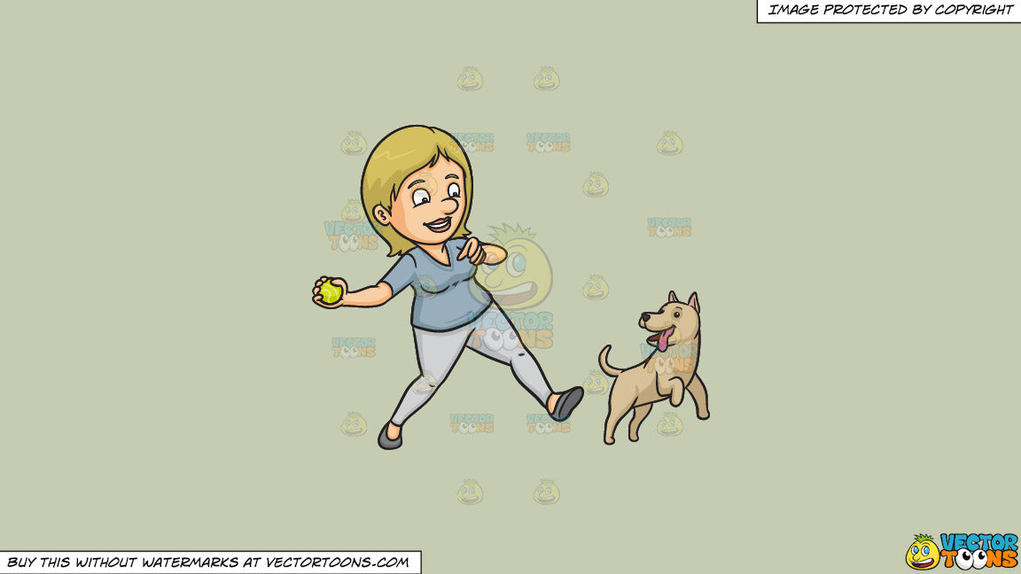 Cartoon clipart: a woman playing fetch with her dog on a solid pale silver c6ccb2 background