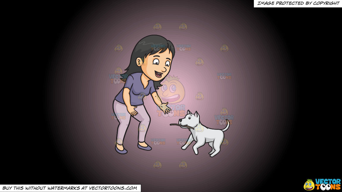 Cartoon clipart: a woman playing stick with her dog on a pink and black gradient background