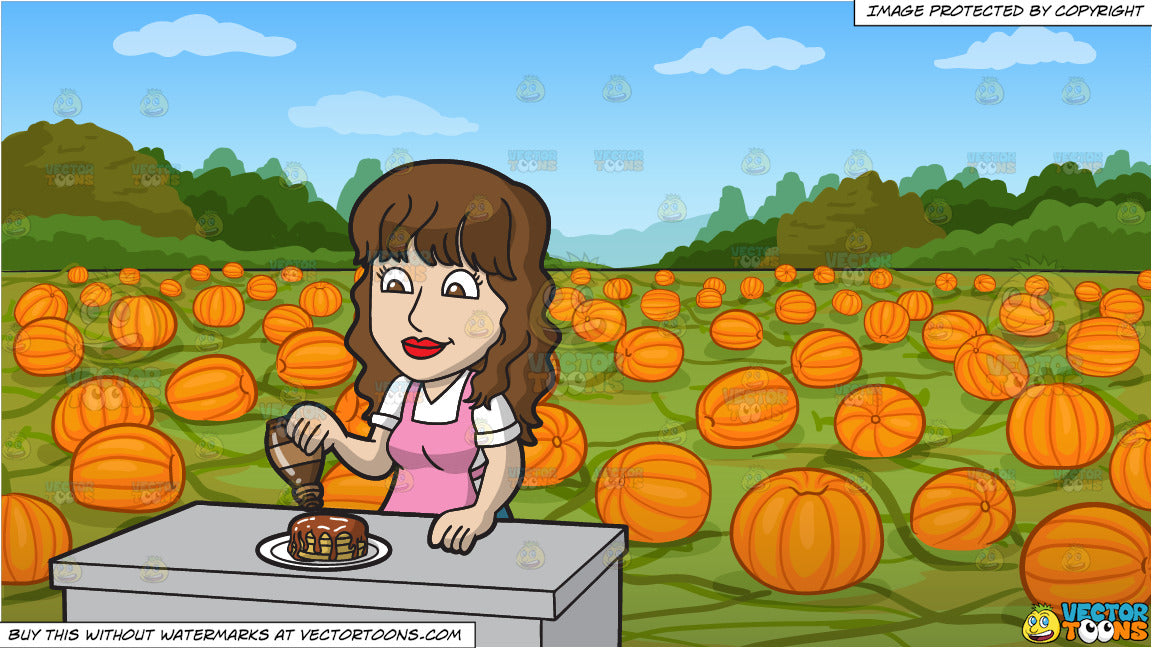 a woman pouring maple syrup over her pancakes and a pumpkin patch back  clipart cartoons
