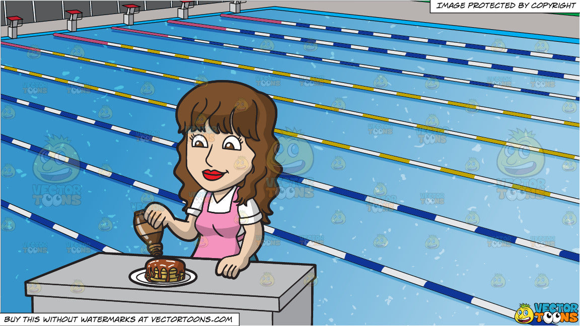 a woman pouring maple syrup over her pancakes and outdoor competition  clipart cartoons