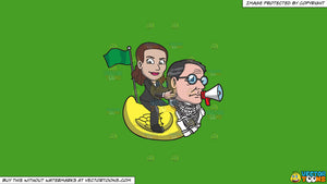 Cartoon clipart: a woman riding a rubber duck that has the head of a man on a solid kelly green 47a025 background