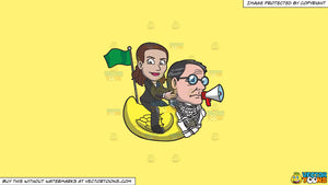 Cartoon clipart: a woman riding a rubber duck that has the head of a man on a solid sunny yellow fff275 background