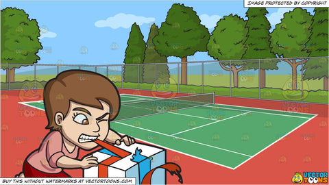 A Woman Ripping Off The Ribbon Of Her Gift With Her Teeth and An Outdoor Tennis Court Background