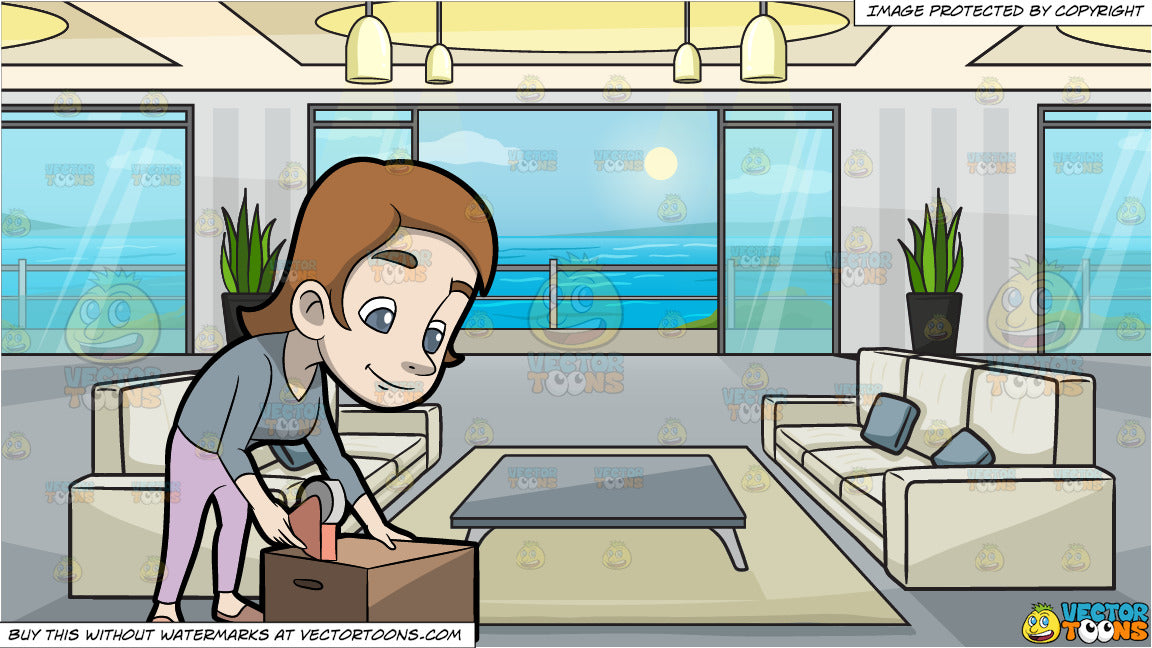 balcony sealing products A Woman Sealing A Box With A Tape Dispenser And A Modern Apartment With A Balcony And Ocean View Background
