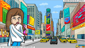 A Woman Shivering Because Of High Fever and New York Times Square During The Day Background