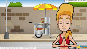 A Woman Sitting With Her Hands In Prayer Position In Deep Meditation and  Hot Dog Cart On A Sidewalk Background