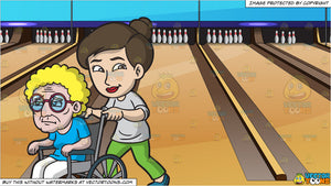 A Woman Taking Care Of An Elderly Woman and Bowling Lanes Background