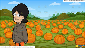 A Woman Wearing A Jacket With Hood and A Pumpkin Patch Background