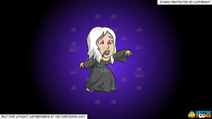 Cartoon clipart: a woman wearing a spooky creature on a purple and black gradient background