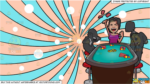 A Woman Winning A Poker Game and A Psychedelic Snowy Swirl Background