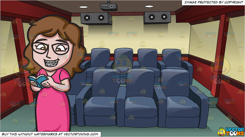 A Woman With Braces Reading A Book At Home and Inside A Modern Home Theater