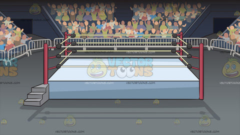A Wrestling Ring Inside An Arena Background