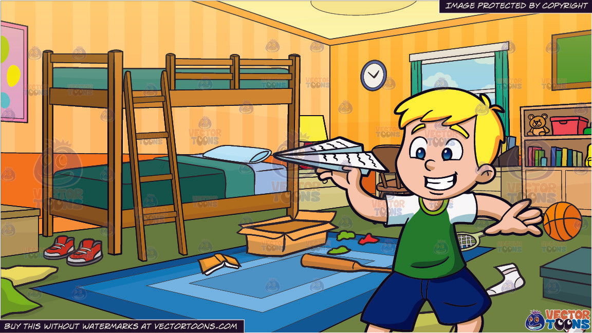 A Young Boy Playing With A Paper Airplane and Messy Kids Bedroom Background