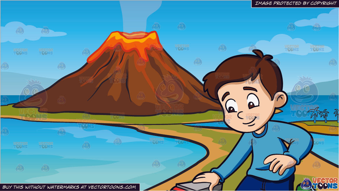 Active volcano, illustration, vector on white background.