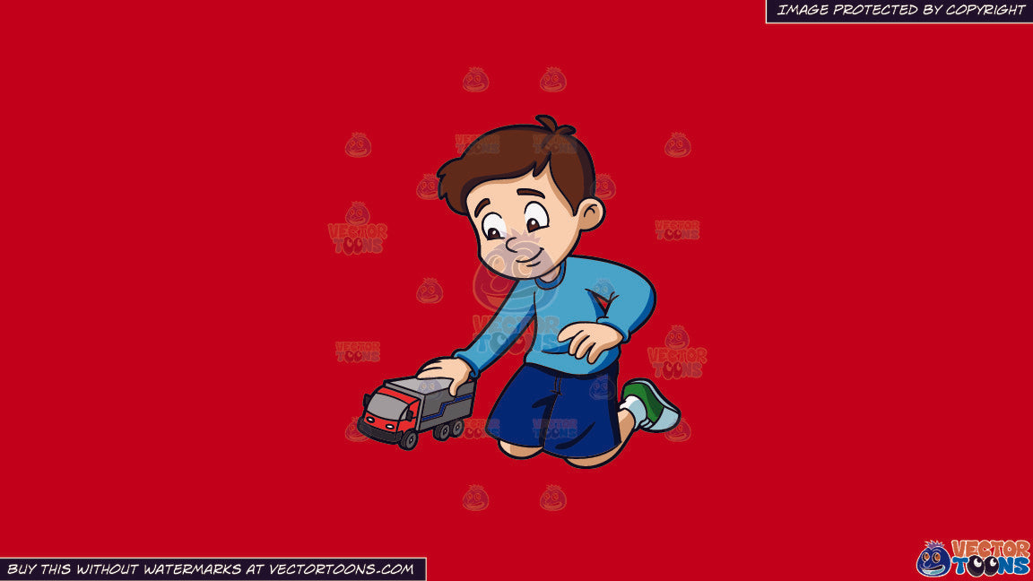 Clipart A Young Boy Playing With His Toy Truck On A Solid Fire Engine Red C81d25 Background