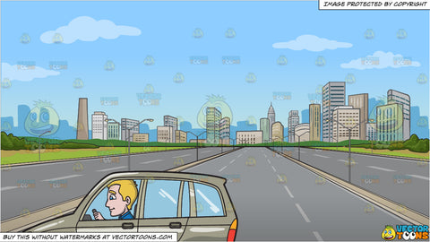 A Young Dad Driving A Mini Van and A Highway Leading To The City Background