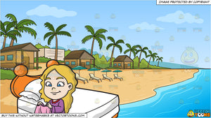 A Young Girl Folding Her Blanket and A Simple Beach Front Resort Background